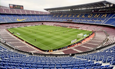 Barcelona play out their 3-0 win over Las Palmas in front of empty stands at the Camp Nou last Sunday.