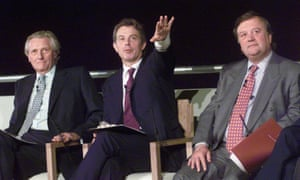 Ken Clarke (right) with Tony Blair (centre) and Michael Heseltine at the 1999 launch of the Britain in Europe campaign, aiming to highlight the benefits of Britain's membership of the EU.