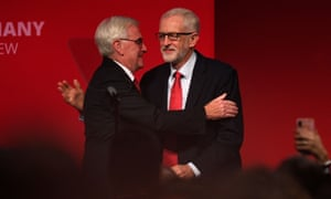 John McDonnell and Jeremy Corbyn greet each other on the third day of the Labour party conference