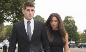 Former Manchester City striker Ched Evans arrives at Cardiff crown court with his fiance Natasha Massey