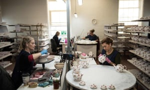 Employees hand-paint crockery in the Stoke factory of Emma Bridgewater, which employs 280 people and is about to recruit 70 more.