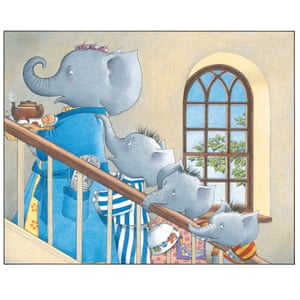 """'""""Can we come?"""" asked Lester as they trailed up the stairs behind her.' Mrs Large tries - unsuccessfully - to enjoy a cup of tea in the bath on her own, in Jill Murphy's picture book Five Minutes Peace"""