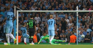 And sends Yann Sommer the wrong way to get his, and City's, second of the night.
