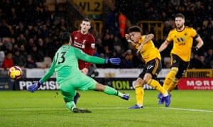 Morgan Gibbs-White shoots wide from close range.