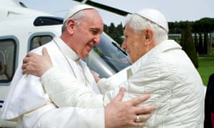 A first in nearly 600 years, Pope Francis meets Pope emeritus Benedict XVI in Castel Gandolfo