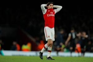 A dejected Hector Bellerín at the end of the match.