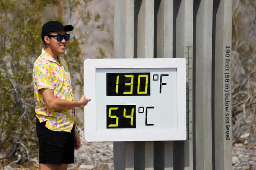 A thermometer display in Death Valley national park in California shows a temperature of 130F (54C) on 17 June.