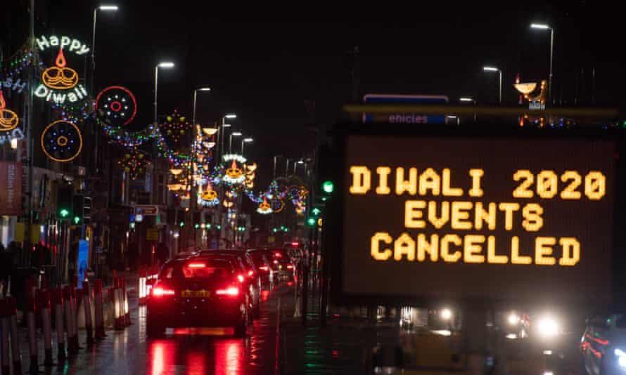 Leicester's Golden Mile during cancelled Diwali celebrations in November 2020.