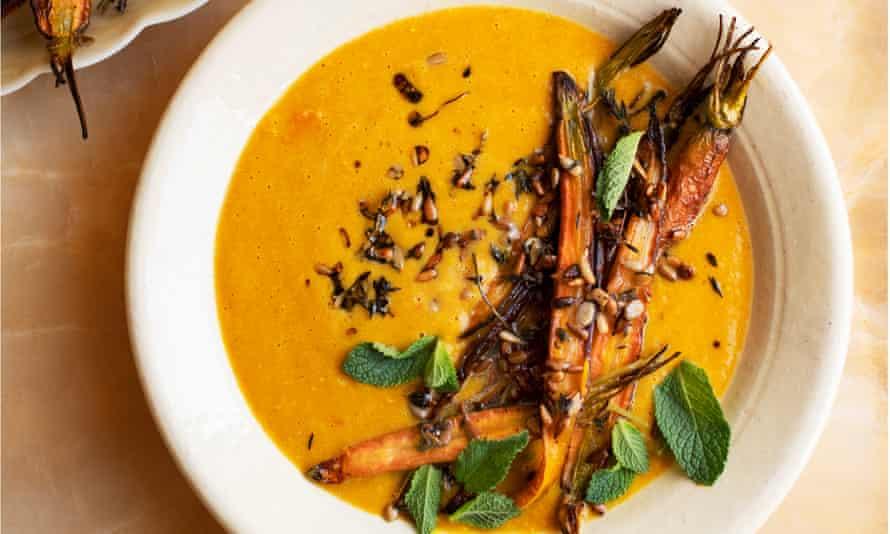 Larder love: split pea soup with roast carrots.
