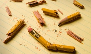 Broken pencils symbolising writer's block