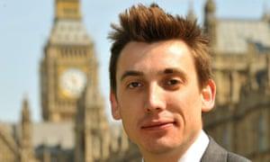 MP Gavin Shuker, parliament in background