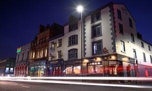 Exterior night shot of The Smithfield Tavern, Manchester, UK.