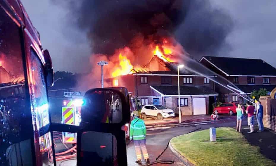 A house in Hampshire damaged by lightning on Friday night.