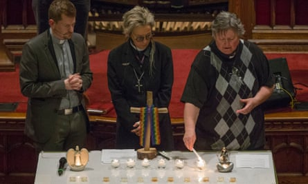 A candlelight prayer vigil for the victims Bruce McArthur allegedly killed at Metropolitan Community church in Toronto on 4 February.