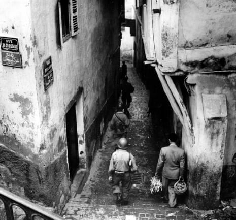 French troops patrol the Casbah during the Algerian war of independence.