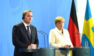 Swedish prime minister Stefan Löfven and the German chancellor, Angela Merkel