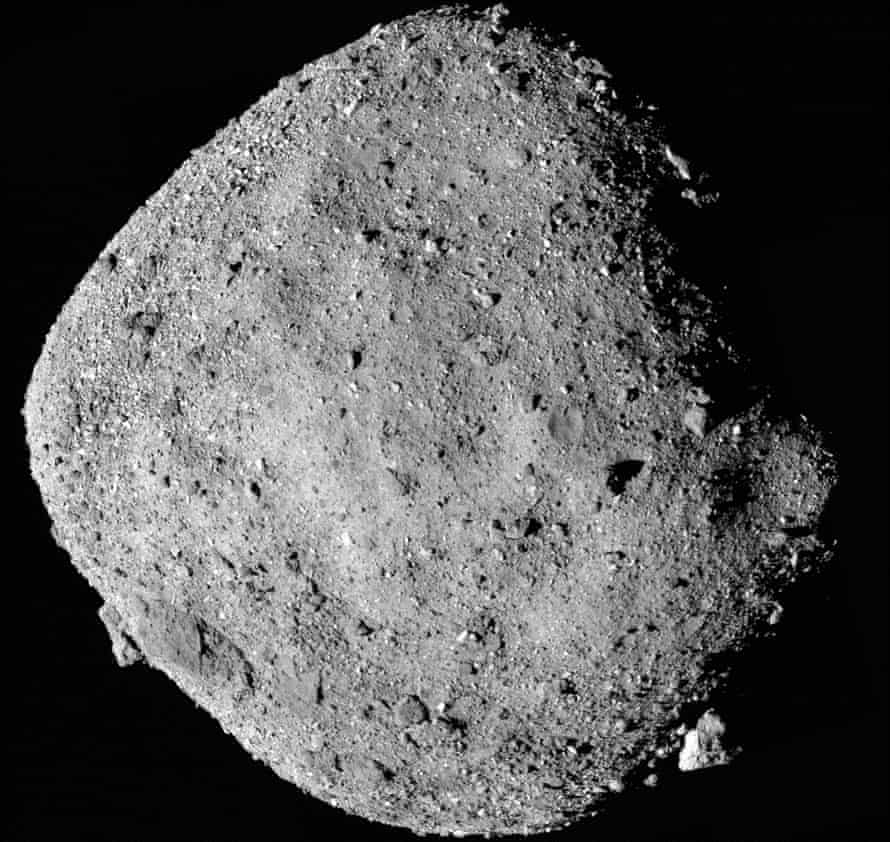 A mosaic image of asteroid Bennu taken by the Osiris-Rex spacecraft from a range of 15 miles (24 km).