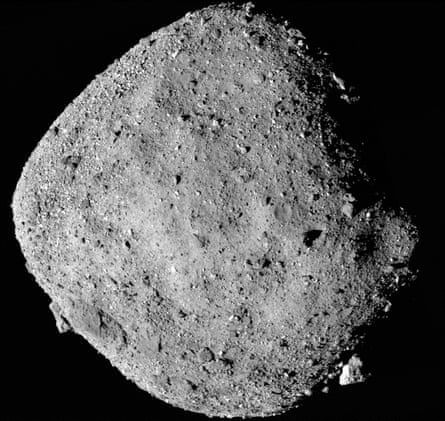 A mosaic image of the asteroid Bennu, captured by the Osiris-Rex spaceship from a distance of 15 miles.