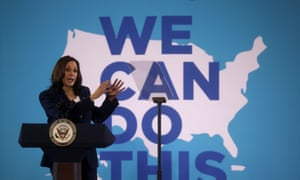 Vice President Kamala Harris speaks at a vaccination mobilization event at the Phillis Wheatley Community Center in Greenville, South Carolina, yesterday.