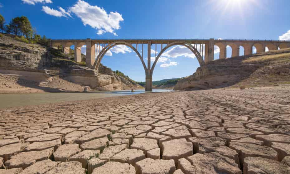 A drought-hit Entrepenas reservoir in Guadalajara, Spain.