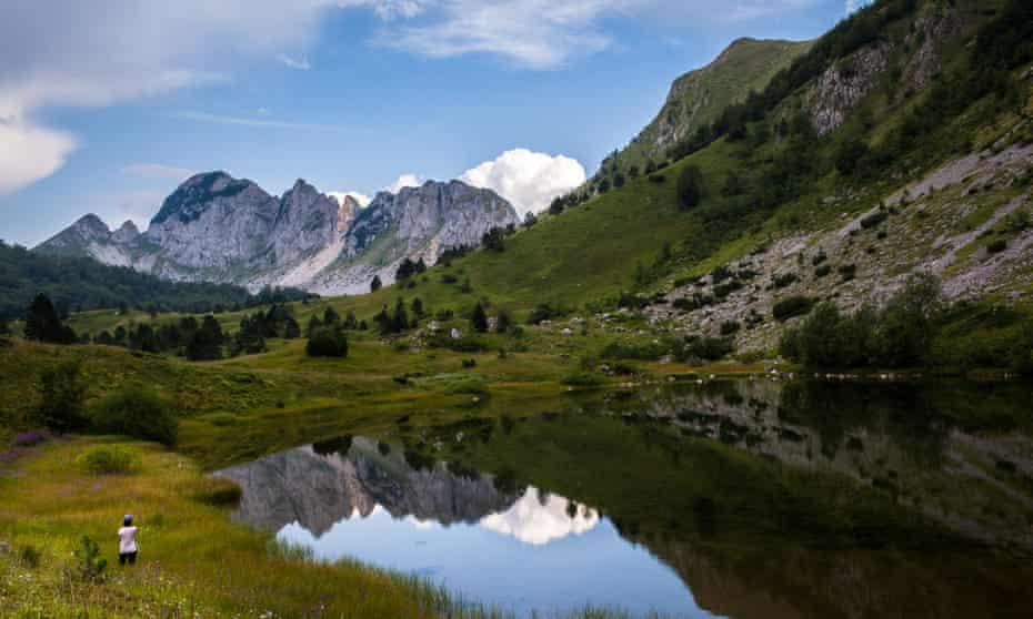 high peaks and glacial lake