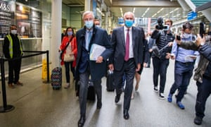 Michel Barnier, the EU's Brexit negotiator, arriving in London from the Eurostar for this week's round of UK-EU trade talks.