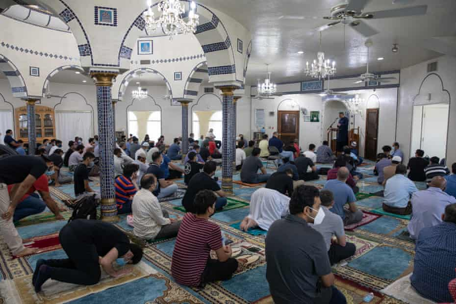 People gather for prayer at the Islamic Community Center of Tempe in Tempe, Arizona, on 20 August.