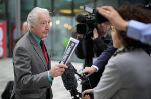 Labour MP Dennis Skinner speaks to the media as he arrives for the annual Labour party conference in Liverpool.