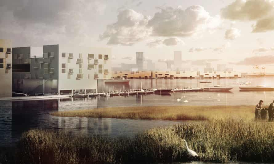 A view across the lagoon at the proposed Bight City development in Jamaica Bay, 2067