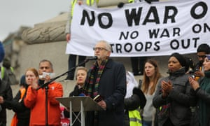 Jeremy Corbyn at the No War on Iran demonstration in Trafalgar Square