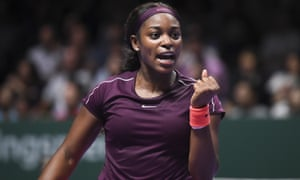 Sloane Stephens celebrates victory in her opening match in Singapore
