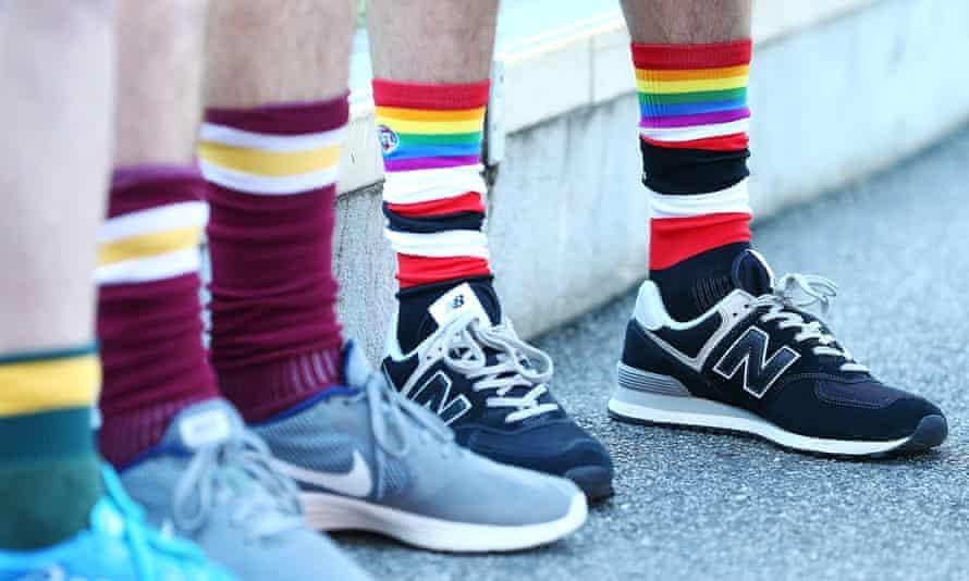 St Kilda rainbow socks