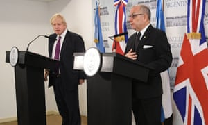 Boris Johnson, the foreign secretary, holding a press conference with his Argentinian counterpart, Jorge Faurie, in Buenos Aires, Argentina