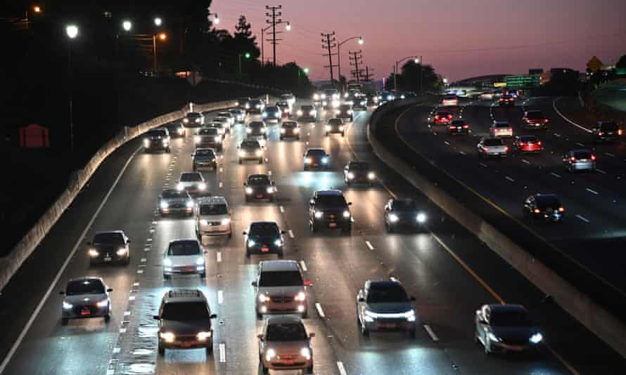 Vehicles on a freeway in Los Angeles, California, in 2019.