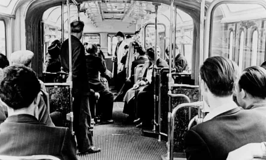 Inside a trolleybus in Moscow circa 1960.