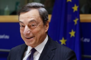 ECB President Draghi in Brussels today.