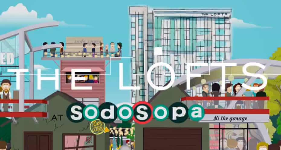 'SoDo SoPa: welcome home' ... promotional ad for a vibrant new urban district of South Park.