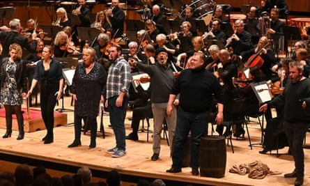 All the scenery we need ... a semi-staged performance at the Royal Festival Hall, London, in November 2019, with Stuart Skelton, second right. The Bergen Philharmonic Orchestra is led by Edward Gardner.