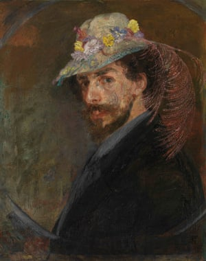 Self-Portrait with Flowered Hat, 1883 by James Ensor.