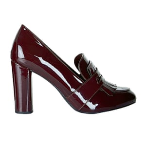 Burgundy patent heeled loafers New Look