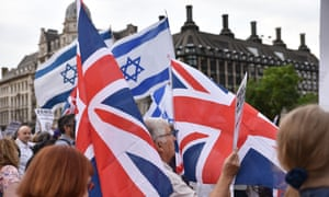 Jewish people protest against antisemitism in the Labour party in London on 19 July.