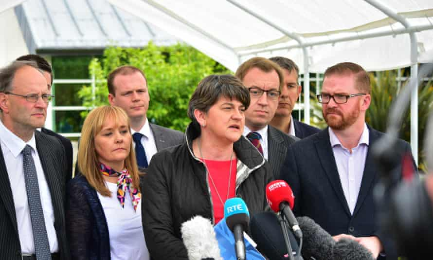 Arlene Foster in a press conference at Stormont castle.