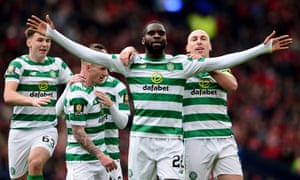 Odsonne Edouard take the acclaim of his teammates after scoring Celtic's second goal from the penalty spot in the Scottish Cup semi-final win against Aberdeen.