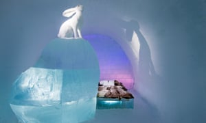 An interior shot of Follow the White Rabbit suite in the Ice Hotel