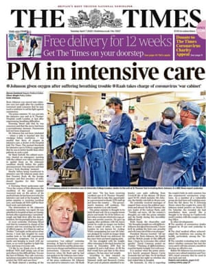 Times front page 7 april 2020