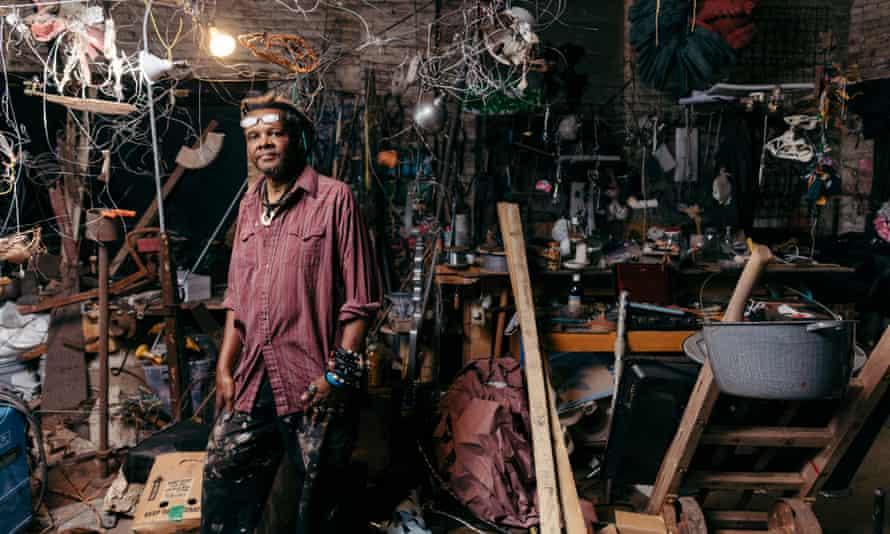 Musician and artist Lonnie Holley in his Atlanta studio.
