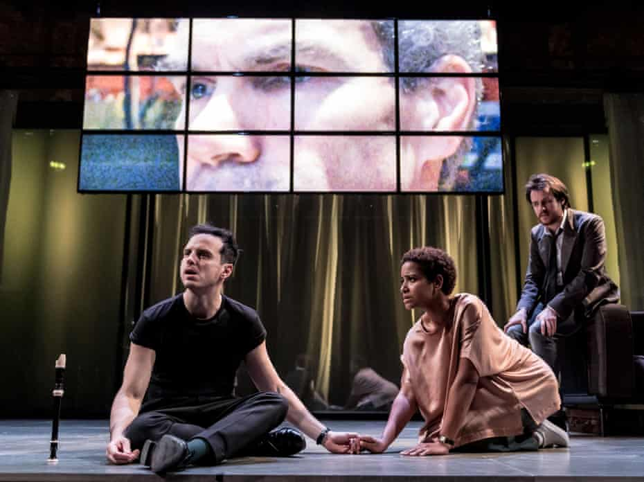 Andrew Scott, Amaka Okafor and Calum Finlay in Hamlet.