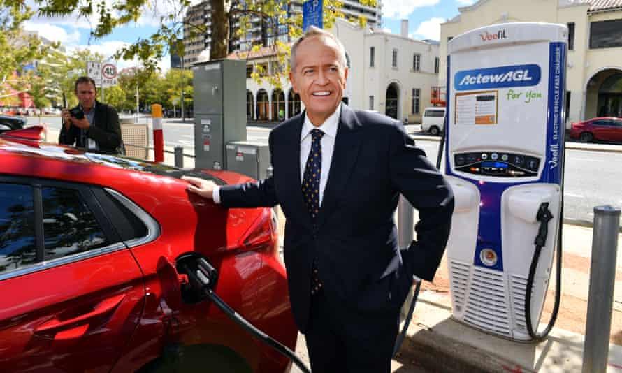 Bill Shorten charges an electric car