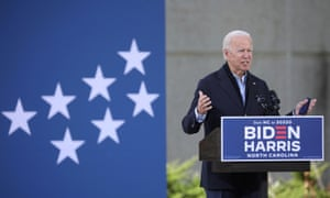 Joe Biden in Durham, North Carolina, on 18 October.