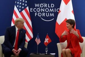 SWITZERLAND-USA-ECONOMY-DAVOS-DIMPLOMACY-WEFUS President Donald Trump speaks with Swiss Confederation President Simonetta Sommaruga ahead of their meeting at the World Economic Forum in Davos, on January 21, 2020. (Photo by JIM WATSON / AFP) (Photo by JIM WATSON/AFP via Getty Images)